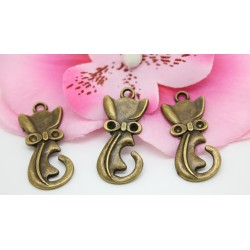 5 Charm Pendentifs Breloques Bronze Chat Noeud 30x15mm-