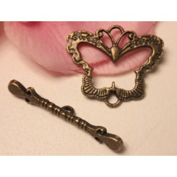 1 Fermoir Toggle Papillon Bronze 24x28mm - 37mm