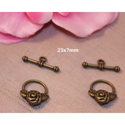 5 Fermoirs Toggle Fleur Bronze 19x17mm - SC22369-