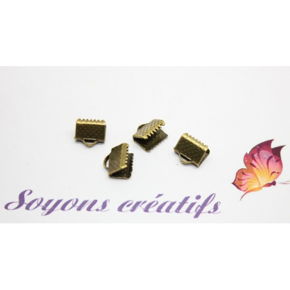 200 Fermoirs griffes Ruban Cordon Cuir Bronze 8x8mm