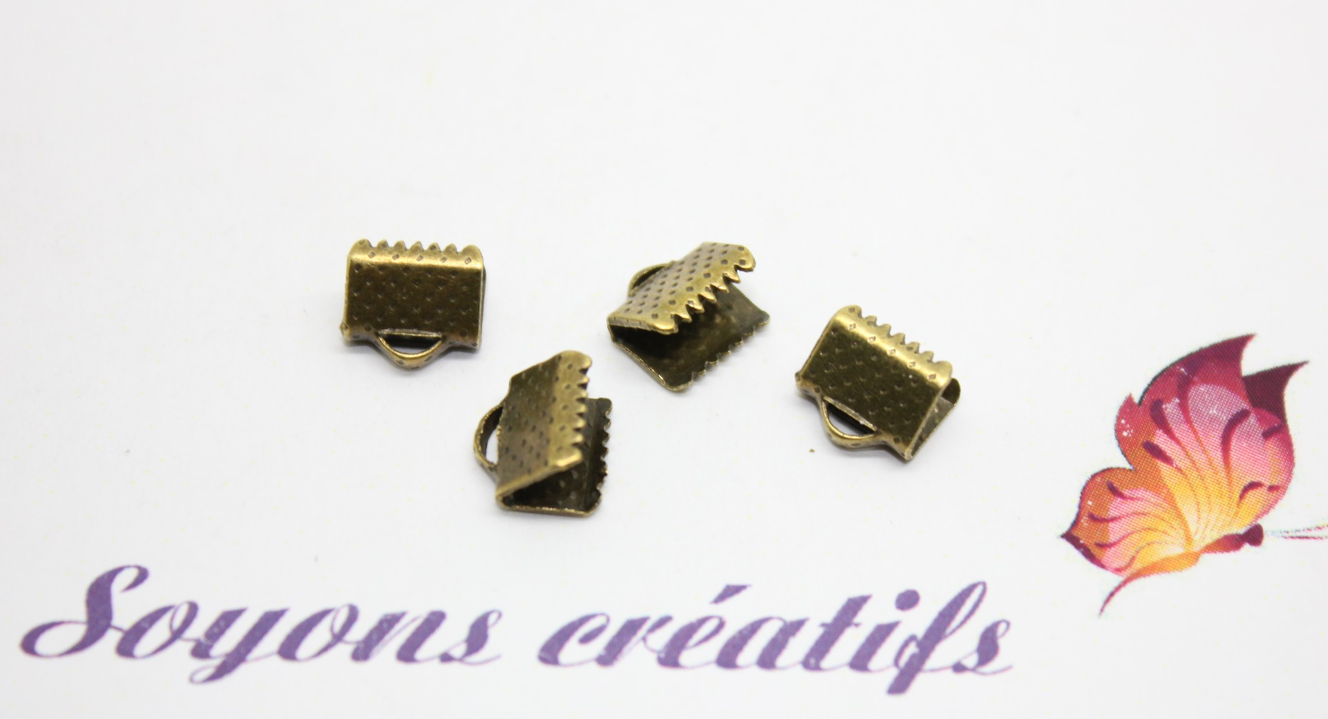 Lot 100 Fermoirs griffes Ruban Cordon Cuir Bronze 8x8mm