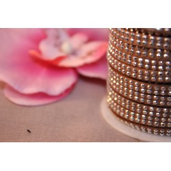 1m Ruban Cordon Suédine Strass 5x2mm Marron