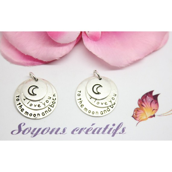 "5 Breloques Charm Argenté 3 Ronds ""I Love You To the Moon"" 25x22mm- création bijoux -"
